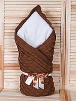 """Зимний конверт-одеяло на выписку """"Лапушка"""" коричневый"""