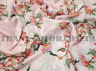 Шёлк армани принт цветы на розовом