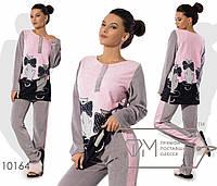 Стильный женский костюм для дома (велюр, узор, брюки, кофта, лампасы, длинные рукава) РАЗНЫЕ ЦВЕТА!