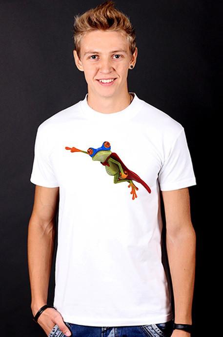 Белая футболка мужская с принтом Лягушонок спортивная хлопок