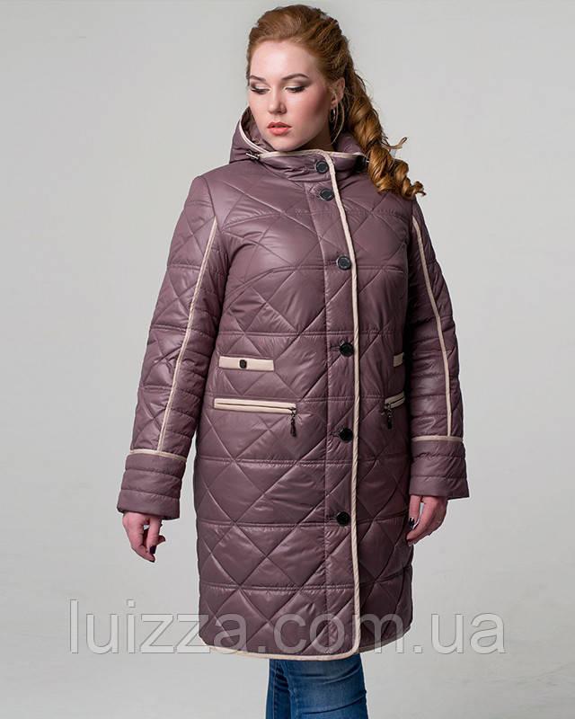 Женская весенняя стеганная куртка 50-62р розовый 60