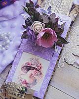 """Открытка ручной работы с шоколадом и пожеланиями """"С 8 Марта"""". Подарок для женщины"""