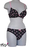 Невероятно стильный комплект белья с пуш-ап - чёрно-розовый 70B, 75B, 80B