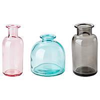"""ИКЕА """"СОММАР 2018"""" Набор ваз 3 штуки, бирюзовый, серый, розовый."""