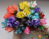 Букеты цветов из лент, магниты на холодильник ручной работы, сувениры, декор кухни, подарки
