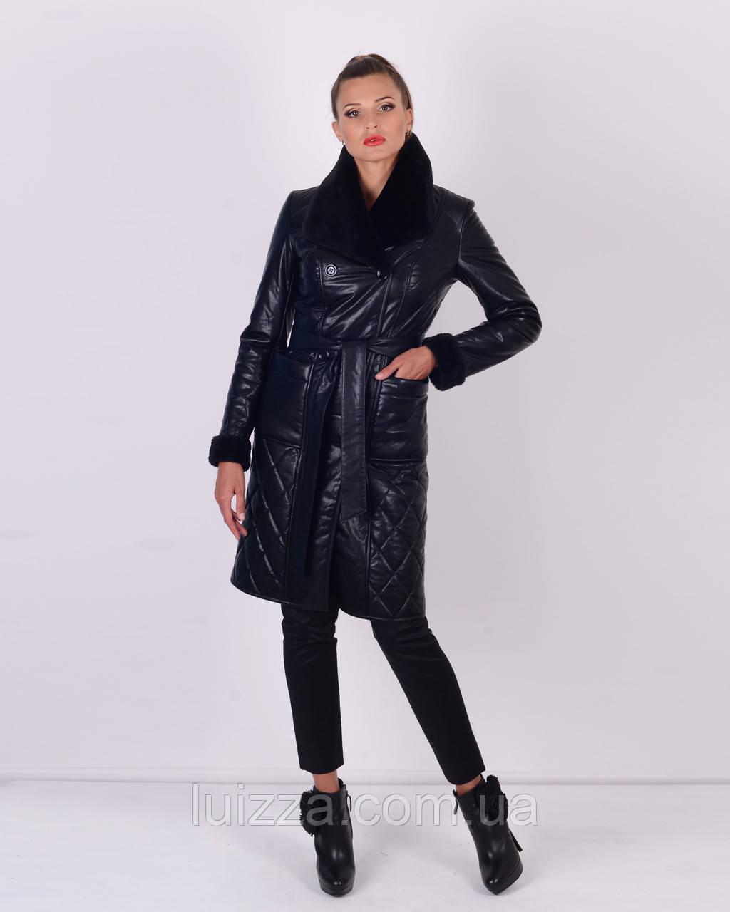 Женское утепленное пальто из эко-кожи 46, 54 р черная 46