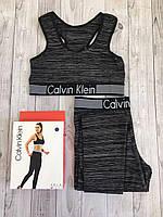 Набор спортивный Calvin Klein (топ+лосины) черный, XL