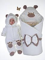 """Демисезонный велюровый набор """"Панда лапки"""", молочный, 3 предмета"""