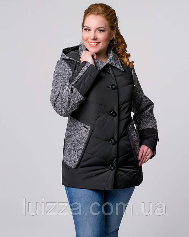 Женская куртка из плащевки с твидовыми рукавами 48-58рр  48