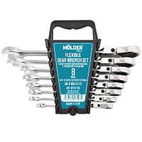 Набор ключей комбинированных MOLDER CR-V с трещоткой и карданом (8 шт) 8-19 мм MT57108