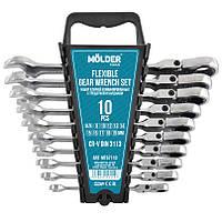 Набор ключей комбинированных MOLDER CR-V с трещоткой и карданом (10 шт) 8-19 мм MT57110