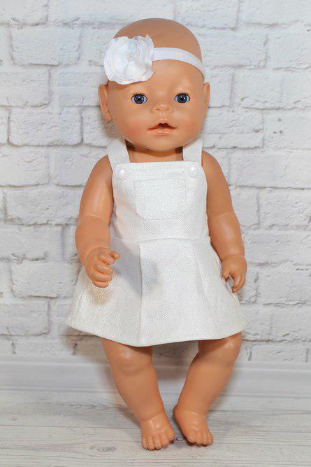 Сарафан хлопковый с повязкой для куклы Baby Born бирюзовый