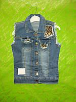 Жилетка джинсовая для девочки 3-7 лет синего цвета оптом