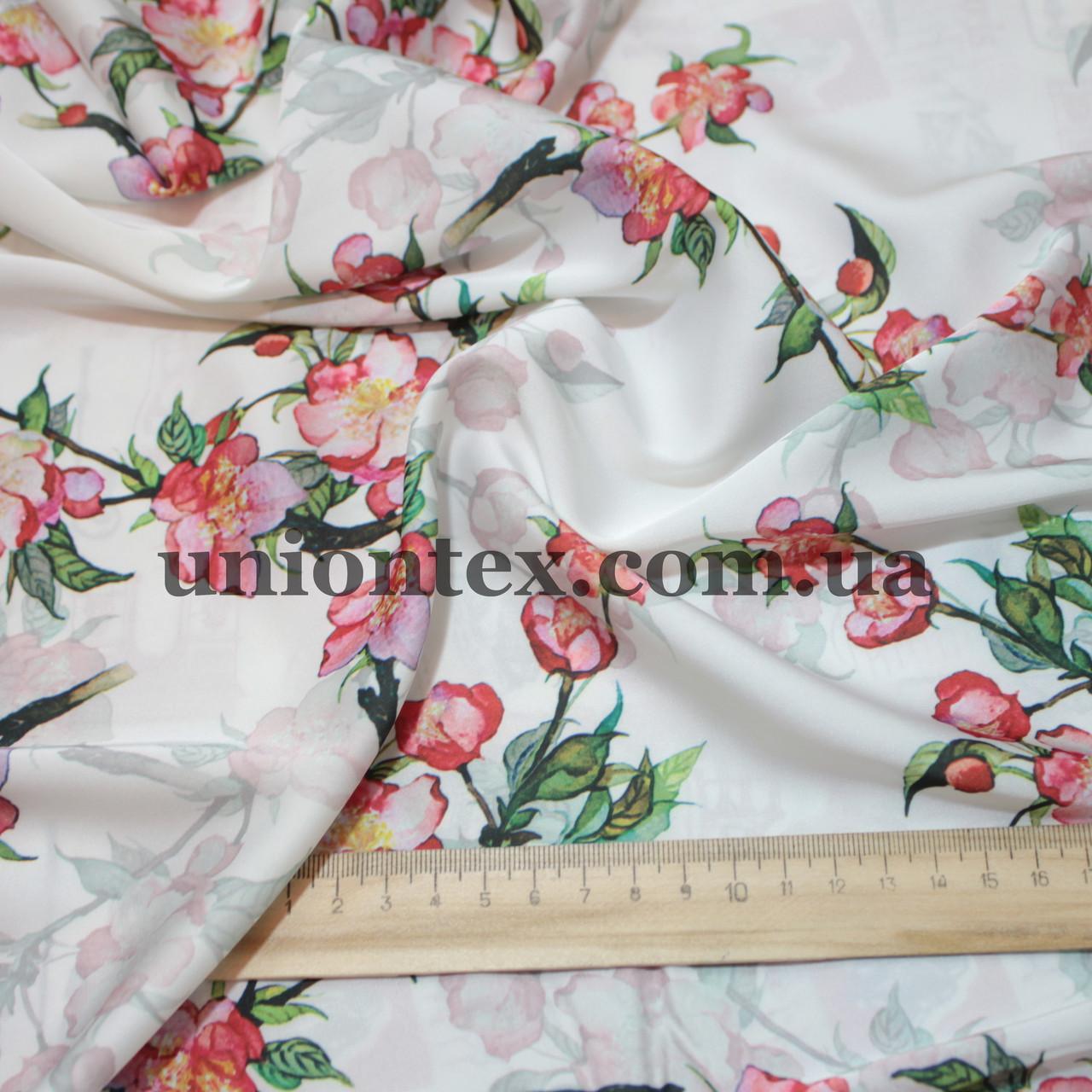 Ткань шелк-армани принт цветы на белом