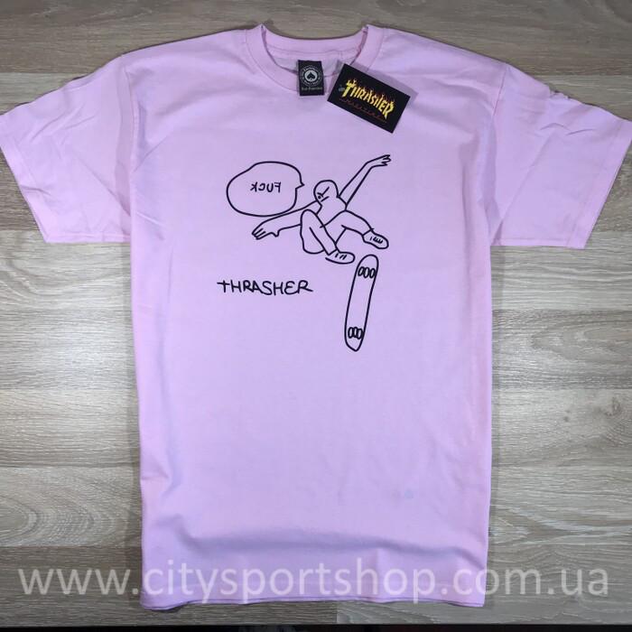 Футболка Thrasher Fuck розовая. Живые фото