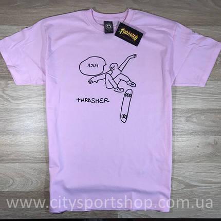 Футболка Thrasher Fuck розовая. Живые фото, фото 2