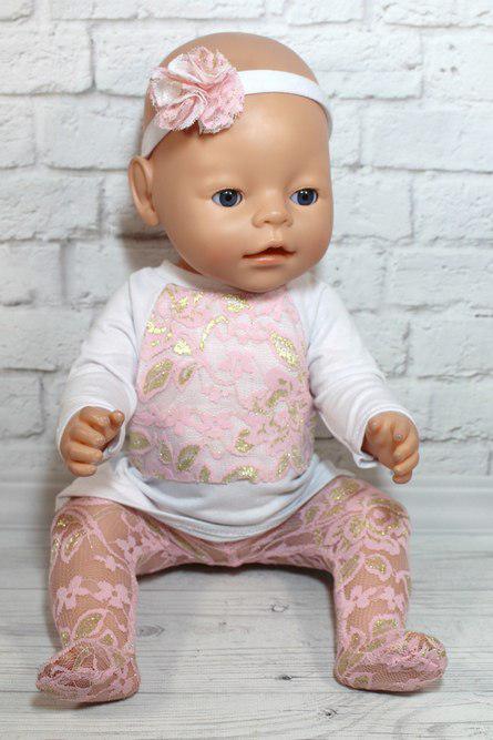 Костюм розовые кружева для куклы Baby Born