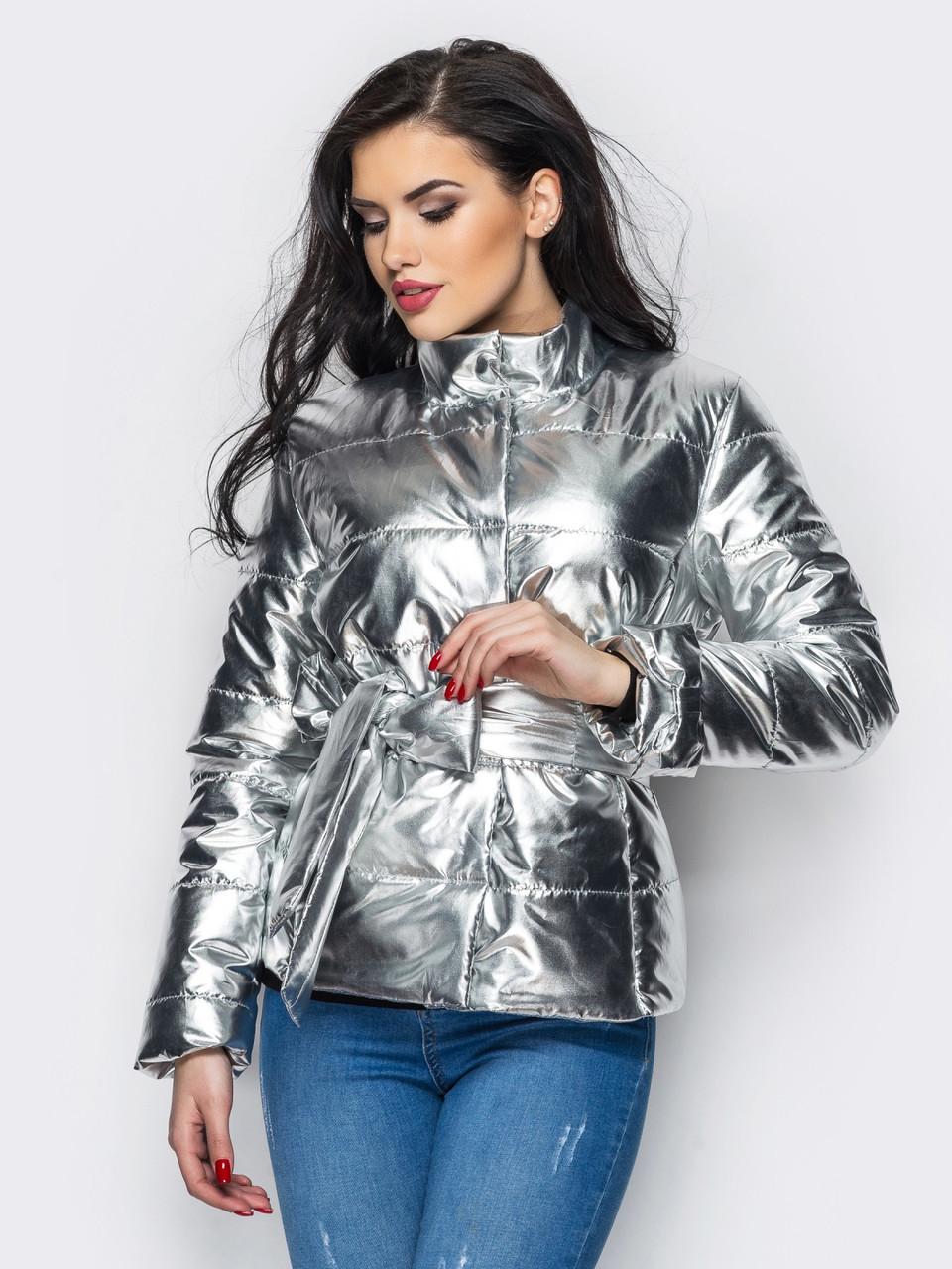 Куртка жіноча демісезонна срібна розмір 40-42 a704ff362be7b