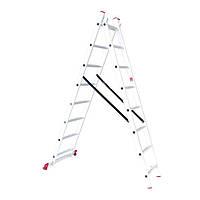 Лестница алюминиевая 2-х секционная универсальная раскладная INTERTOOL LT-0208, фото 1