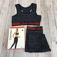 Набор спортивный Calvin Klein (топ+лосины) красная резинка, S