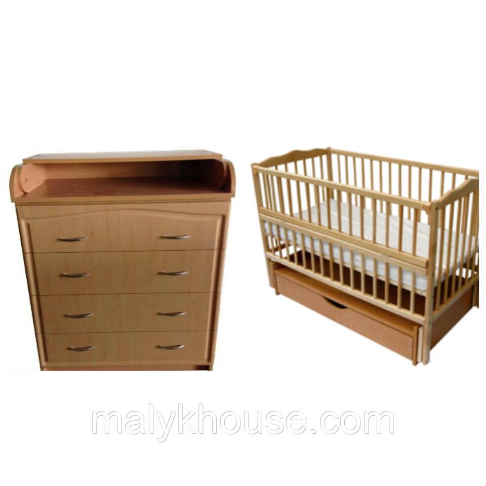 Комплект: Комод-пеленатор филенчастый (бук натуральный)+Кроватка Элит (бук натуральный)