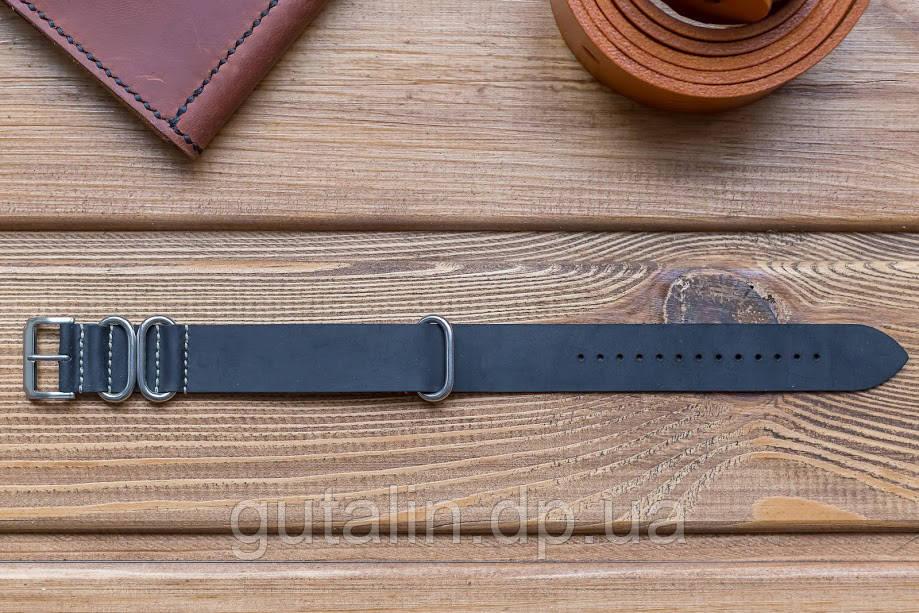 Шкіряний ремінець для годинника Bros колір чорний