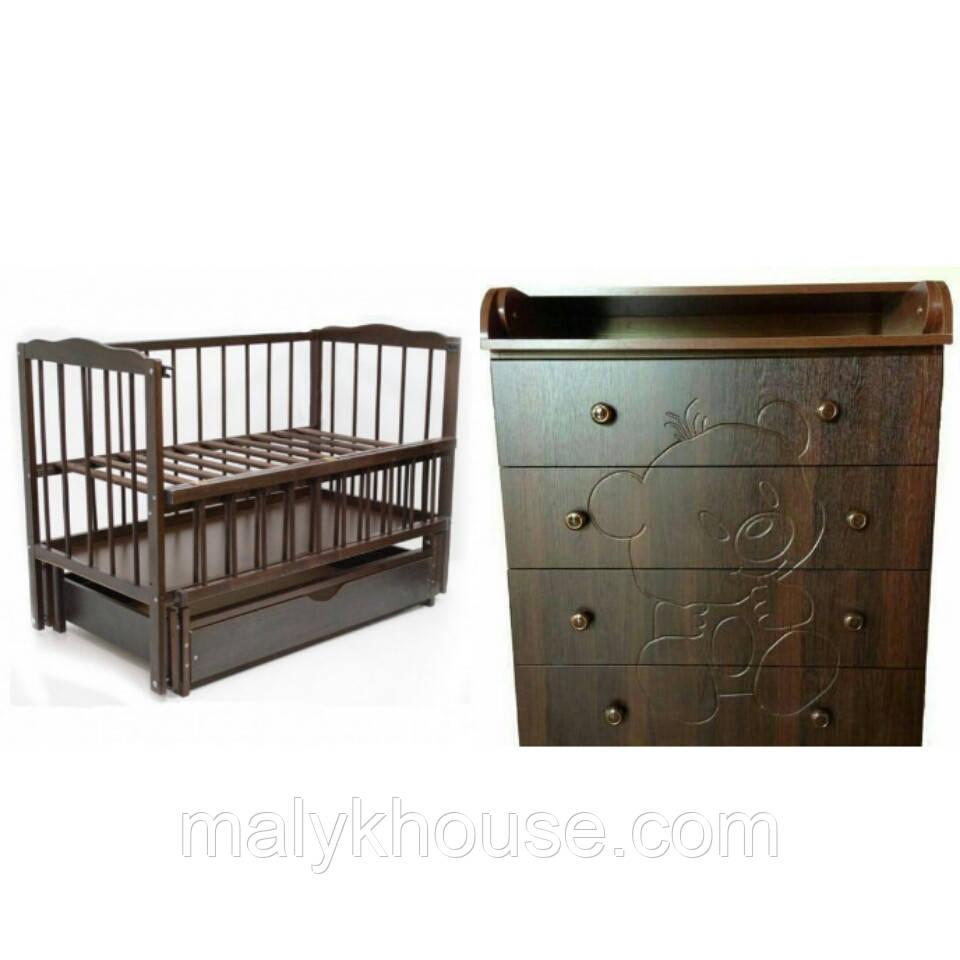 Детский комод-пеленатор Мишка (орех темный) + Кроватка Веселка