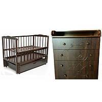 Детский комод-пеленатор Мишка (орех темный) + Кроватка Веселка, фото 1