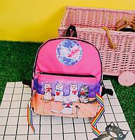 Прикольный рюкзак Поющие коты с сумочкой