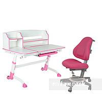 Подростковая парта для школы FunDesk Amare II Pink + Кресло ортопедическое FunDesk Bravo Pink