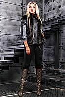 Эффектная женская жилетка-полушубок (искусственный мех норки, стеганая эко кожа, на молнии, карманы)