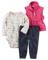 Набор с 3-х частей Little Vest Set Carter's для девочки розовый, синий, белый