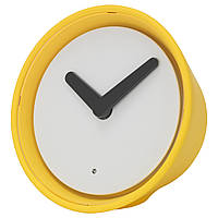 """ИКЕА """"СТОЛПА"""" Часы с неоновой подсветкой, желтый, 14 см."""