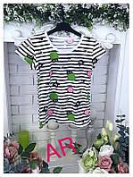 Оригинальная женская футболка (стрейч, принт полосатый, короткие рукава, круглая горловина)