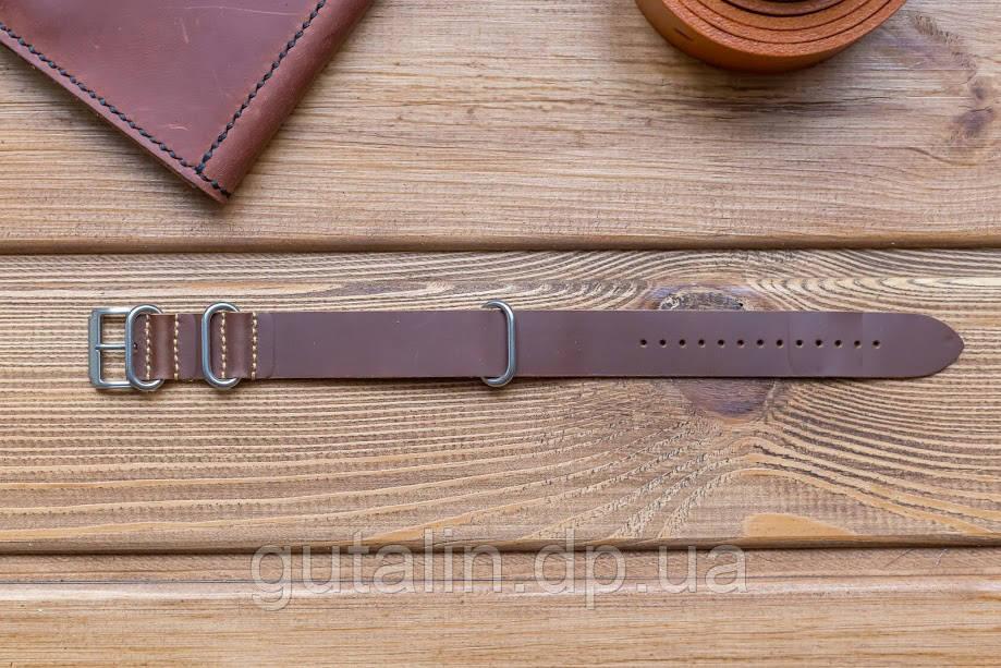 Шкіряний ремінець для годинника Bros колір коричневий