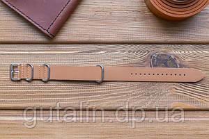 Шкіряний ремінець для годинника Bros колір пісок