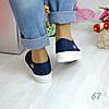 Жіночі кріпери (кеди на платформі сині сліпони текстильні кросівки) в стилі Lacoste лакост, фото 3