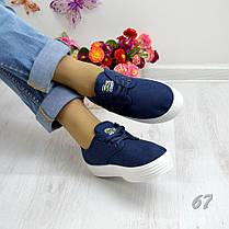 Жіночі кріпери (кеди на платформі сині сліпони текстильні кросівки) в стилі Lacoste лакост, фото 2