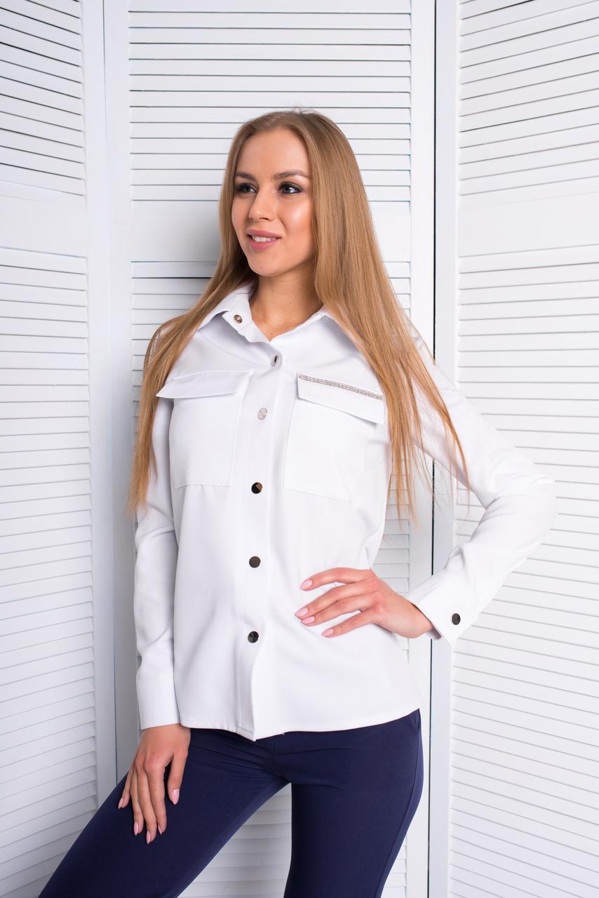 97fcf86e5bf0b3a Белая рубашка женская с длинным рукавом - Интернет-магазин