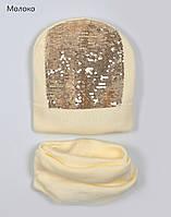 Весенняя шапка для девочки с пайетками, фото 1