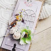 """Открытка ручной работы с шоколадкой """"Весна за окном"""". Подарок для женщины"""