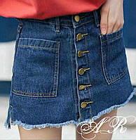 Стильная женская юбка шорты (плотный джинс, на пуговицах, мини, карманы)