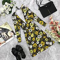 Откровенное платье в цветочный принт с глубокими симметричными вырезами  DR1810122
