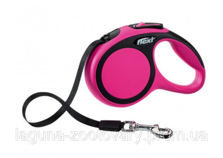 """Поводок - рулетка, розовый, 5м, лента, Флекси  """"Нью Комфорт"""", для собак до 15кг /S"""