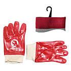 Рукавичка маслостійке х/б трикотаж покритий PVC c плетеним манжетом (червона) (ящик 120пар) INTERTOOL SP-0006W