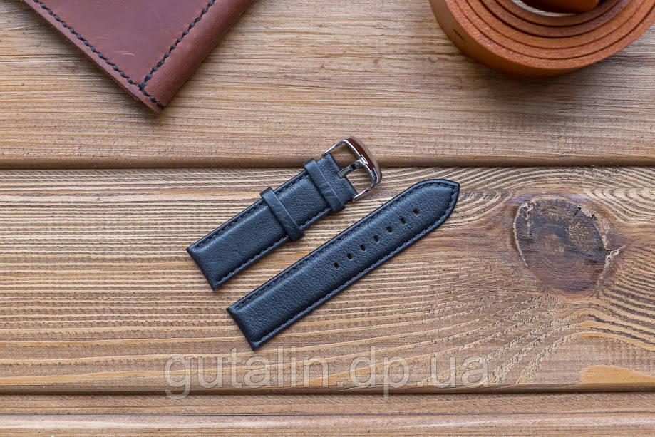 Кожаный ремешок для часов art.1 цвет черный. Размер 22