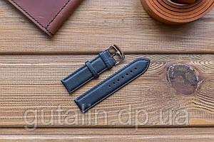 Шкіряний ремінець для годинника art.1 колір чорний. Розмір 22