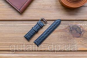 Шкіряний ремінець для годинника Рептилія art.2 колір чорний. Розмір 22