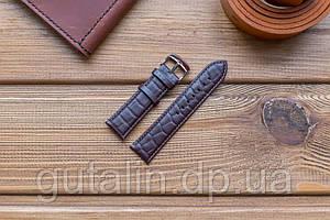 Шкіряний ремінець для годинника Рептилія art.2 колір темно коричневий. Розмір 22