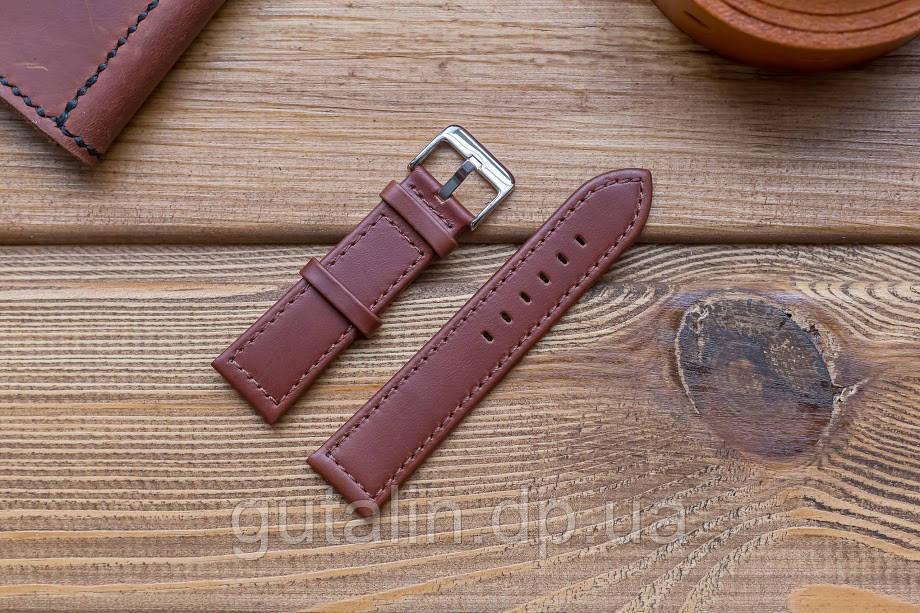 Кожаный ремешок для часов art.1 цвет коричневый. Размер 22